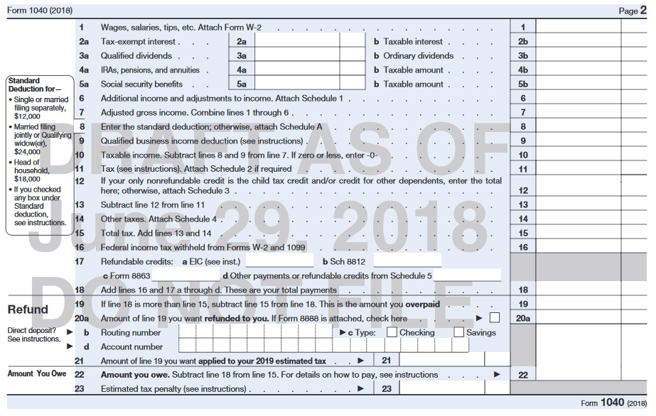 Irs Redesigning Form 1040 For 2019 Tax Season